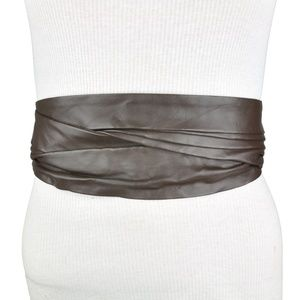 BCBG Brown Faux Leather Wide Waist Belt